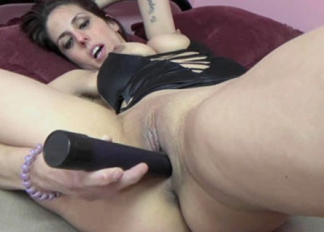 Lavender's masturbating in her black dress